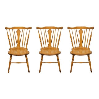 Cushman Colonial Hard Rock Maple Colonial Style Dining Side Chairs - Set of 3 For Sale