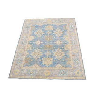 "Traditional Afghan Sultanabad Design Blue and Yellow Wool Rug 8'x9'9"" For Sale"