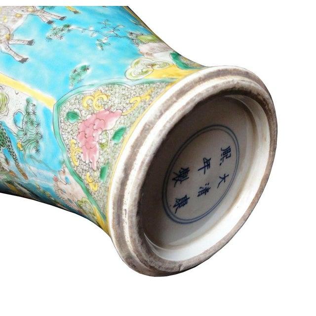 Chinese Porcelain Blue Base Animals Decor Vase For Sale In San Francisco - Image 6 of 6