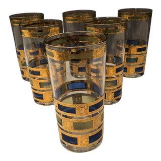 Culver Ltd Mid-Century Hardball Drinking 22k Glasses - Set of 6