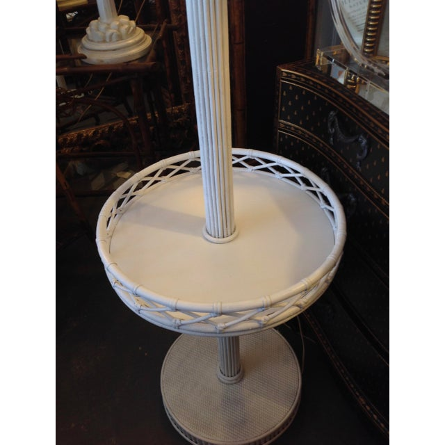 1930s Pencil Reed Floor Lamp Table For Sale In West Palm - Image 6 of 13