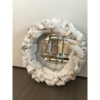 White Washed Organic Driftwood Round Mirror Preview