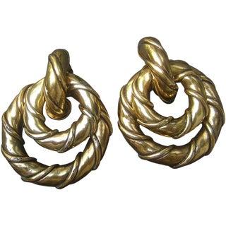 Gilt Metal Interchangeable Hoop Earrings by Une Ligne Paris For Sale