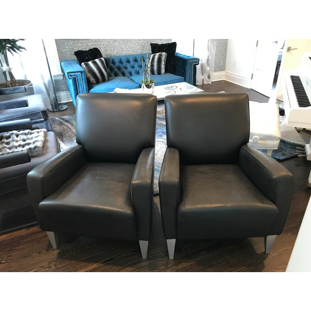 Black Leather Club Chairs - A Pair - Image 2 of 6