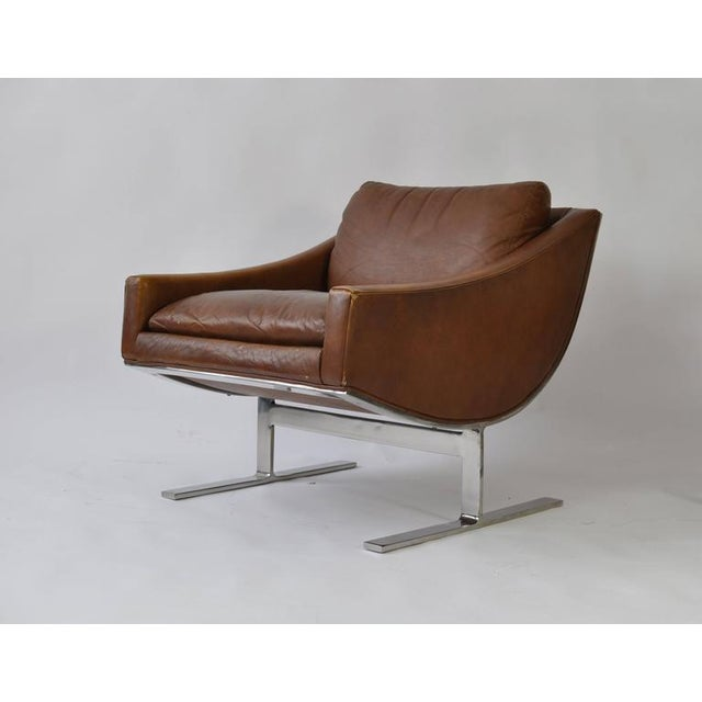 """Pair of Kipp Stewart """"Arc"""" lounge chairs for Directional. Original brown leather."""