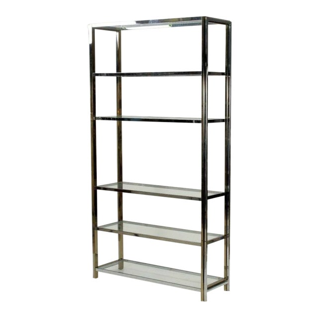 Mid Century Chrome, Glass and Brass Tone Etagere For Sale