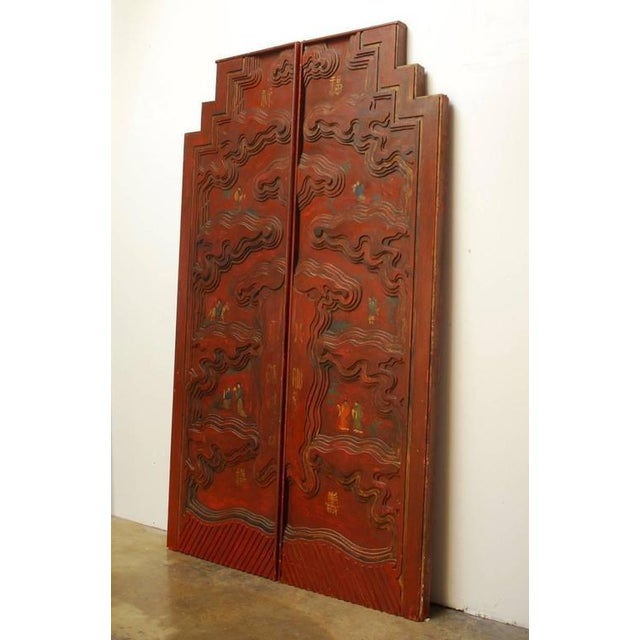 Chinese Carved Temple Courtyard Door Panels - A Pair - Image 6 of 10