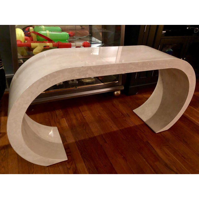 Art Deco 1970s Contemporary Lacquered Waterfall Console Table For Sale - Image 3 of 13