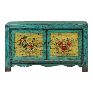 1970s Mongolian Distressed Floral Still Life Motif Cabinet For Sale