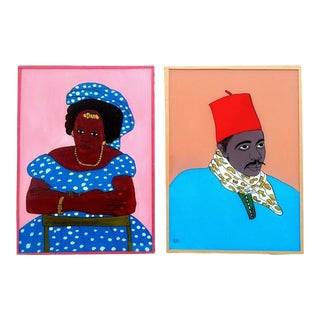 "Rare Vintage 20th Century Senegal Africa Original Reverse Glass "" Fixe Suwer "" Portrait Paintings - Set of 2 For Sale"