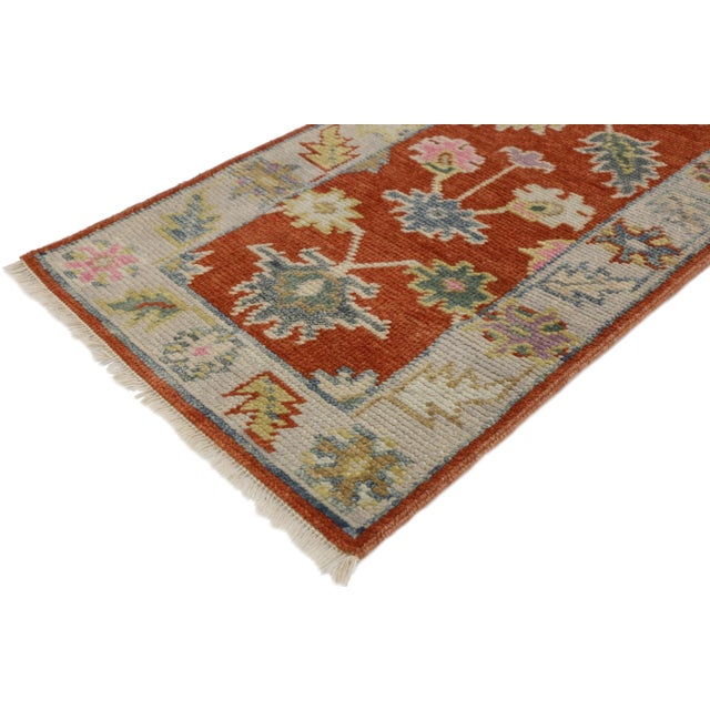 New contemporary colorful Oushak accent rug for entryway, foyer, or kitchen. This hand knotted wool contemporary Oushak...