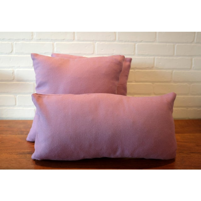 """A set of three custom Tempotest Italian woven pillow covers in a lavender 100% acrylic fabric. Included are two 16""""x16""""..."""