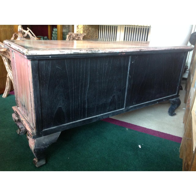 Pink Chinese Pink Distressed Cabinet For Sale - Image 8 of 9