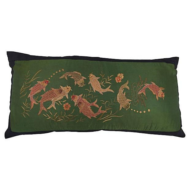 Asian Embroirered Koi Fish Jade Silk Pillow - Image 1 of 5