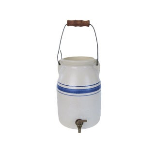 Vintage Nettlebed Pottery White and Blue Striped 1 Gallon Dispenser Crock For Sale