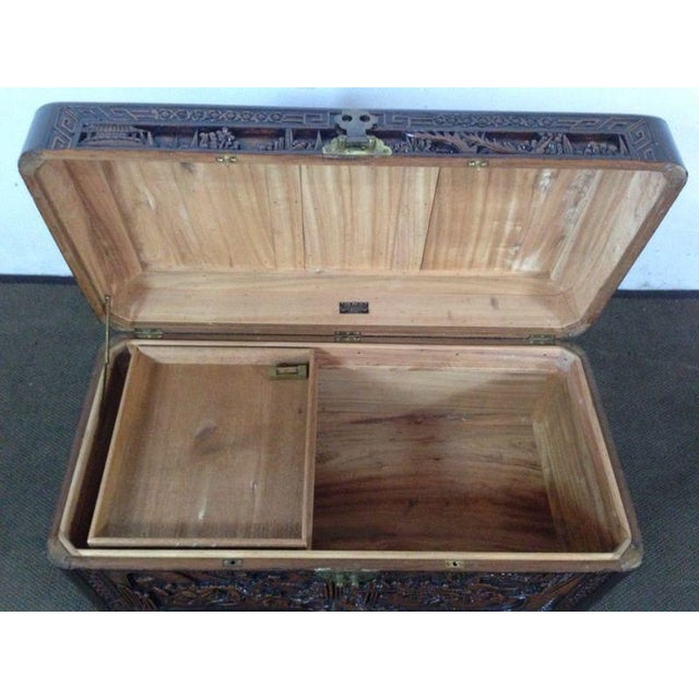 Chinese Carved Teak & Camphor Wood Chest - Image 8 of 11