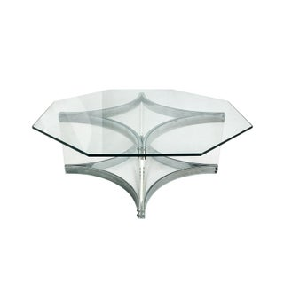1970s Italian Octagonal Chrome and Lucite Coffee Table by Alessandro Albrizzi Preview