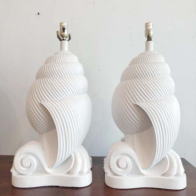 White 1980s of Plaster Conch Shell Artmaster Nautilus Lamps - a Pair For Sale - Image 8 of 8