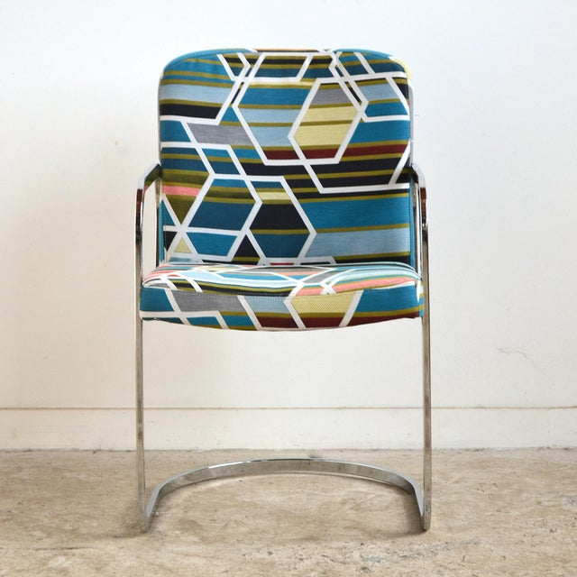 Silver Design Institute of America Set of Four Chairs with Maharam Fabric For Sale - Image 8 of 11