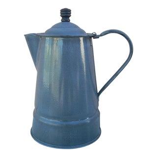 Vintage Gray Graniteware Coffee Pot For Sale