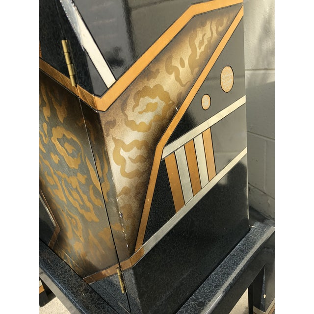 Vintage Hand-Painted Black and Gold Cabinet For Sale - Image 4 of 9