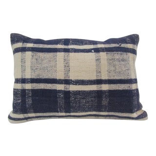 Vintage Handmade White and Navy Blue Turkish Kilim Pillow Cover For Sale