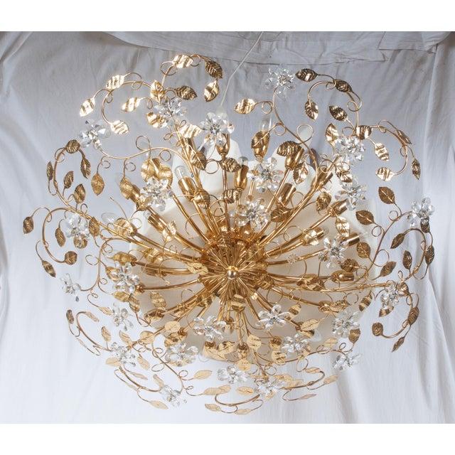 Huge Bras and Crystal Flush Mount Chandelier For Sale - Image 13 of 13