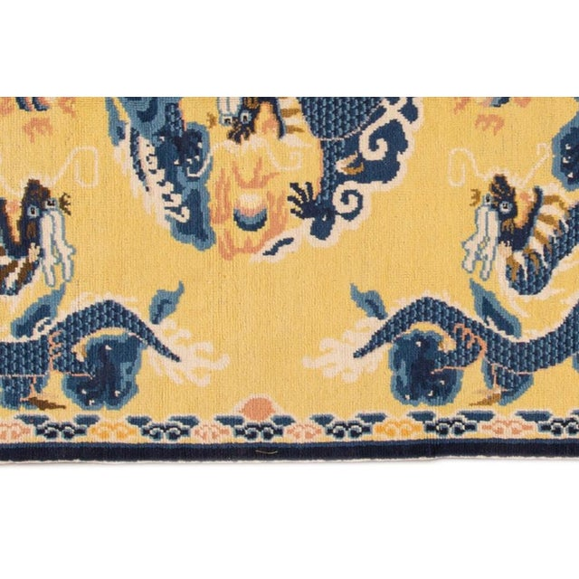 1960s Vintage Yellow Dragon Peking Chinese Wool Rug 5 Ft 2 in X 6 Ft 7 In. For Sale - Image 5 of 6
