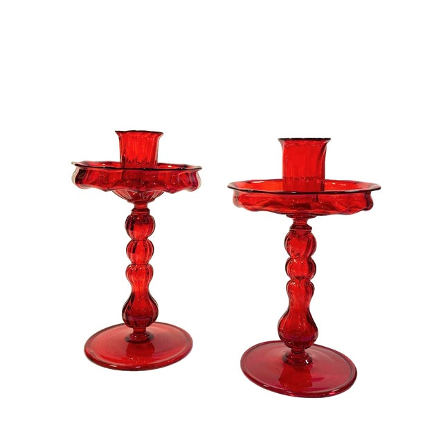 Mid 20th Century Murano Hand Blown Glass Candle Holders With Bobeche - a Pair For Sale - Image 5 of 5