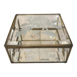 Mid-Century Modern Etched Glass & Brass Trinket Box