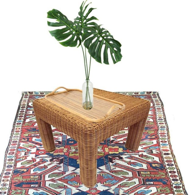 1970s Vintage Wicker Footstool Rattan Ottoman For Sale - Image 5 of 12