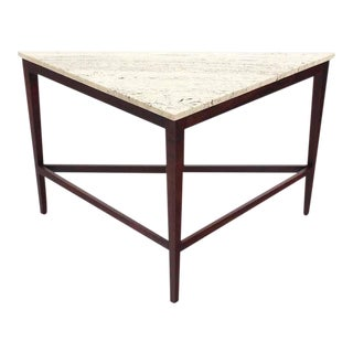 Vintage Mid Century Travertine Top Triangular Corner Table onTapered Legs For Sale