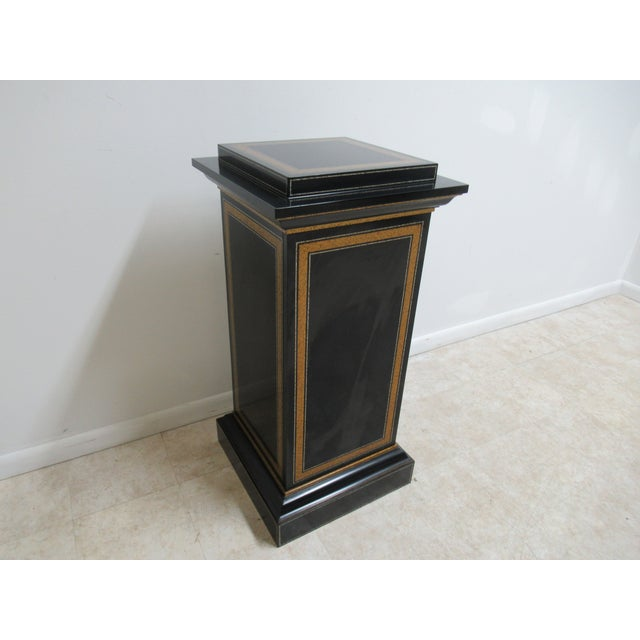Maitland Smith Black Ebonized Lamp End Table Pedestal Cabinet B great shape. Tight and sturdy. Minor scruffs. Please see...