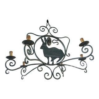 French Green Wrought Iron Chandelier with Rabbit