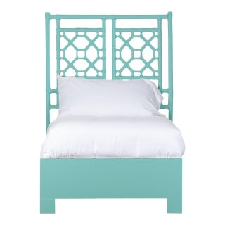 Lattice Back Bed Twin - Turquoise For Sale
