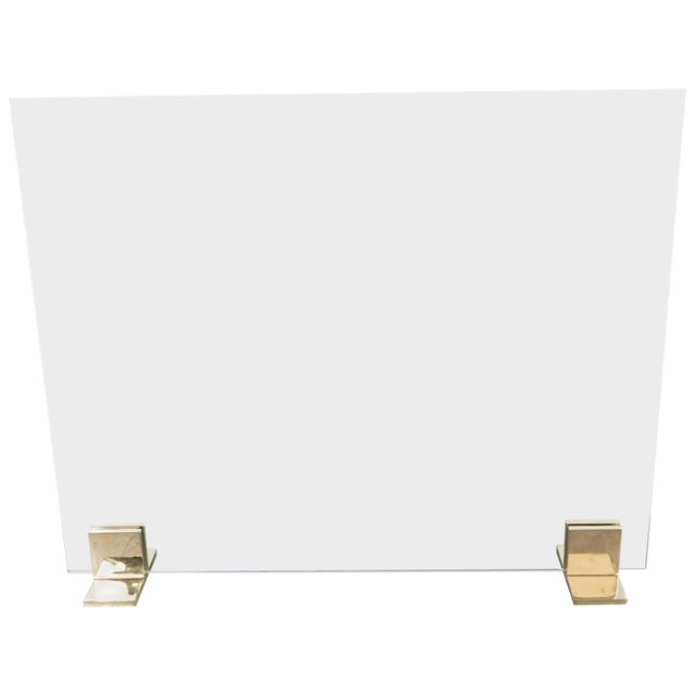 Custom Modern Fire Screen in Polished Brass and Tempered Glass For Sale