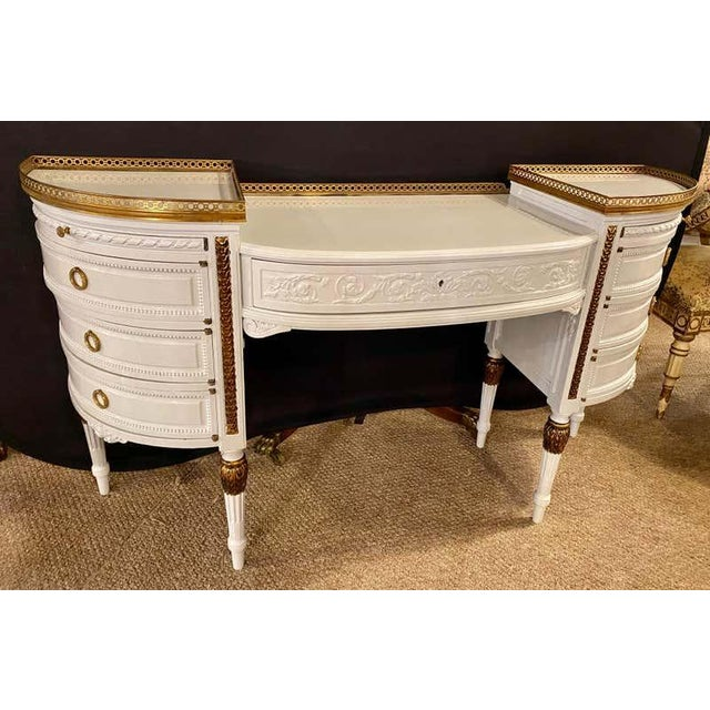 Louis XVI Style Ladies Vanity / Writing Desk in Dove Gray Lacquer For Sale - Image 12 of 13
