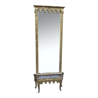 1960s Italian Gothic Style Antique Guilded Hall Mirror With Table For Sale