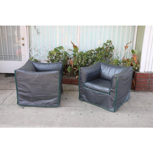 1980s Vintage Italian Leather Lounge Chairs- A Pair For Sale - Image 9 of 13