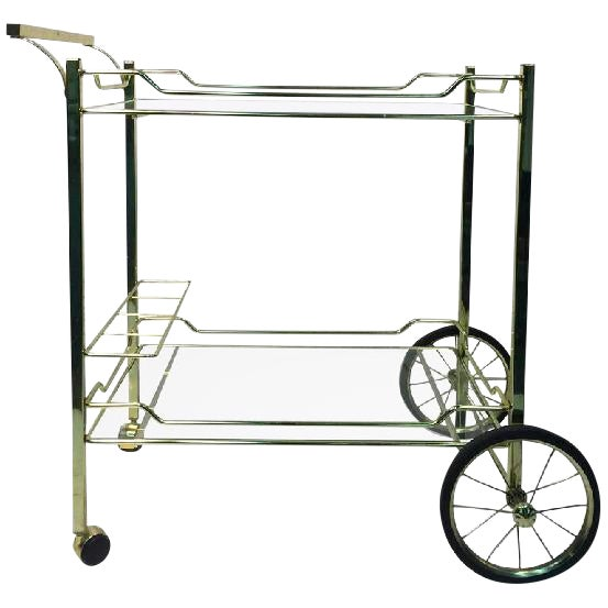 BEAUTIFUL BRASS BAR OR TEA CART FOR THE DESIGN INSTITUTE OF AMERICA For Sale