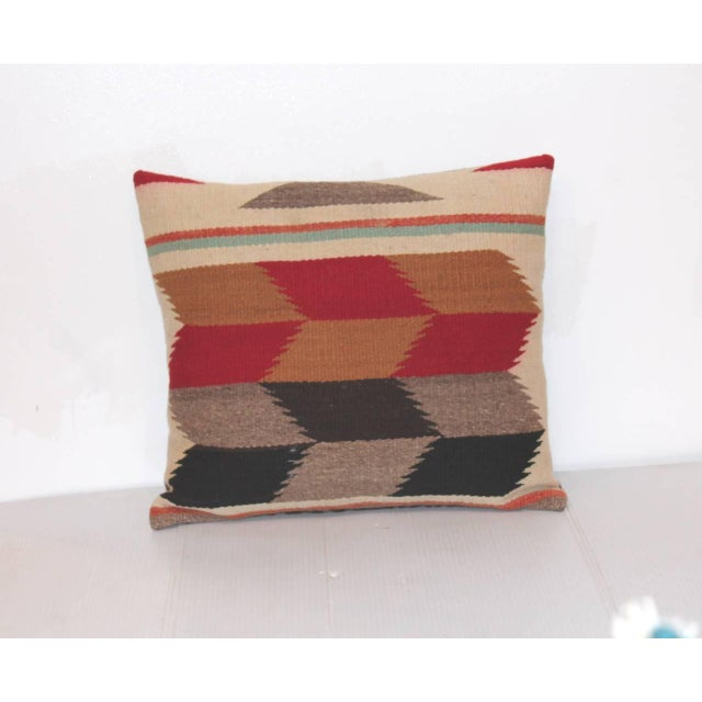 This is a amazing pair of Navajo weaving pillows. The tumbling block pattern is really great. The backing is in a brown...