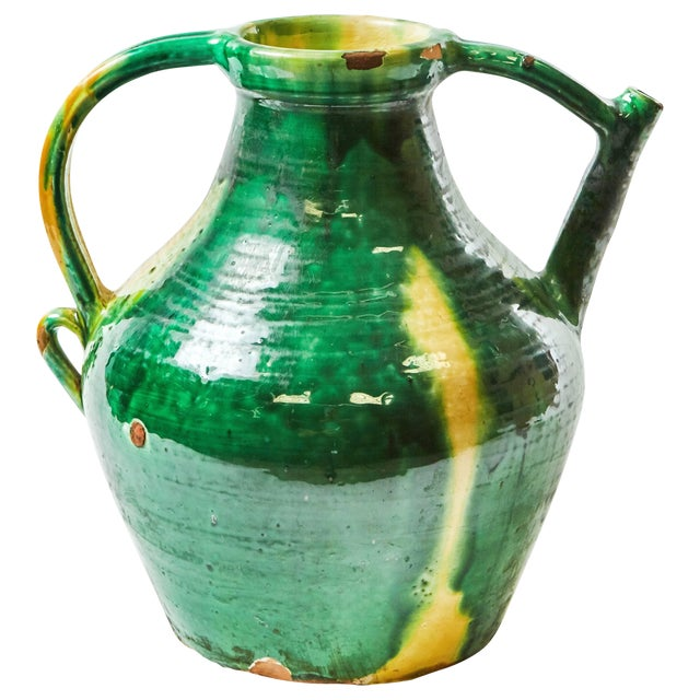 Late 19th Century Green Glazed Pot With Yellow Accents From England For Sale
