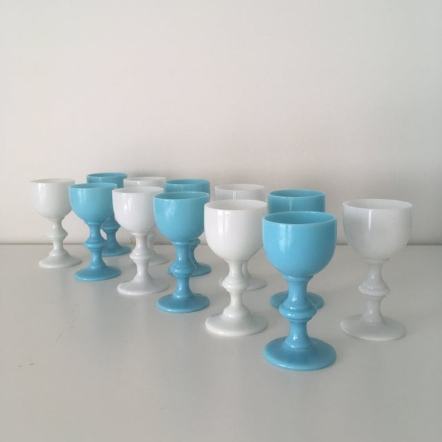 French 1900s Blue & White French Portieux Vallerysthal Cordials - Set of 12 For Sale - Image 3 of 4