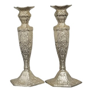 1900's Dutch Repousse Silver Plate Candlestick Holders - a Pair For Sale