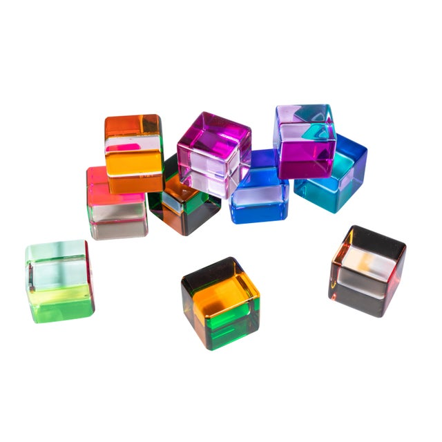 1970s Set of 10 Colored Lucite Cubes by Vasa Mihich For Sale - Image 5 of 8