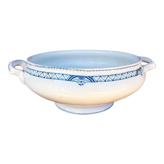 Antique French Blue and White Serving Bowl by St Amand d'Antin For Sale