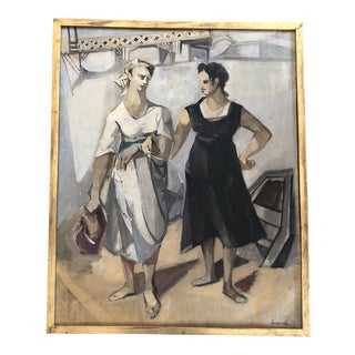 Original Vintage Cubist French Period Painting Signed Picasso Style For Sale