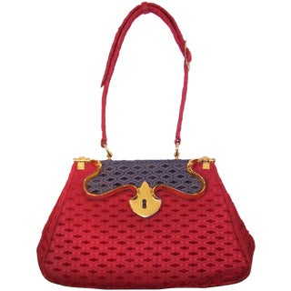 1950's Roberta DI Camerino Ruby Red & Blue Handbag With Outstanding Hardware For Sale