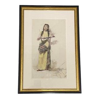 "Francis Luis Mora ""Woman With Guitar"" Original Watercolor Painting C.1920 For Sale"