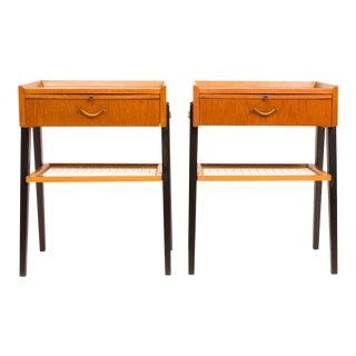 Vintage 1960s Danish Mid Century Teak Nightstands /Bedside Tables (Pair) For Sale